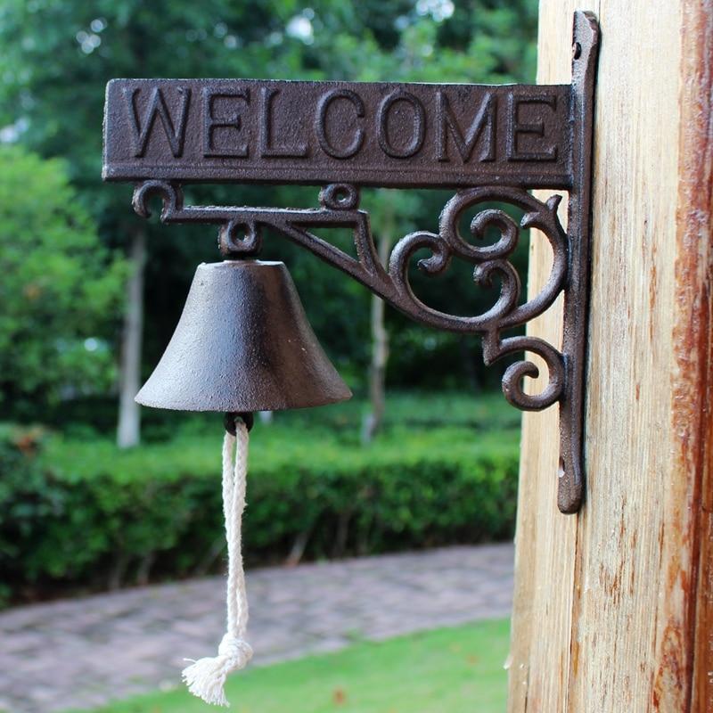 Gietijzer Welkom Dinner Bell Bloem Wall Mounted Opknoping Decoratieve Deur Bell Outdoor Tuin Veranda Patio Land Landelijke Decor - 3