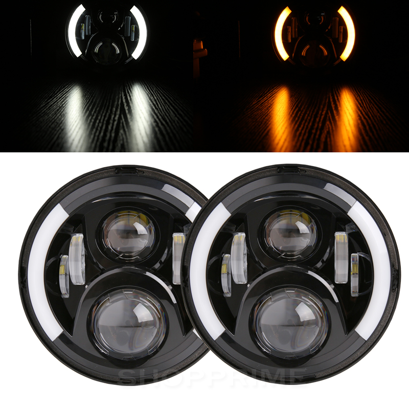 Led Headlight 7'' Round H4 High Low 6000K 7Inch Led Motor Light 50W for Jeep Harley Lada Niva Toyota UAZ 4x4 Offroad free shipping 7inch round headlight motorcycle automotive 4x4 offroad cruiser wind rover led daytime running lights