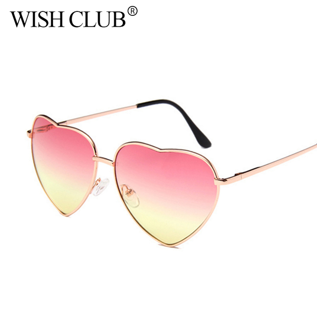 WISH CLUB Fashion Heart Shaped Sunglasses Women brand designer metal Reflective Retro Sun Glasses Ray Men Mirror oculos de sol