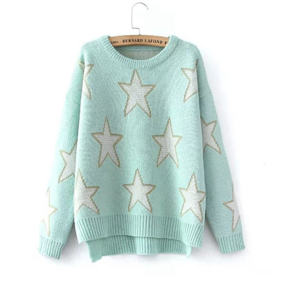 Casual Knitted Loose Sweaters Women Cotton Thick Winter Warm Stars ...