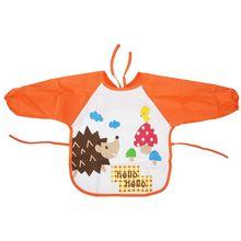 Детский водонепроницаемый комбинезон с длинными рукавами для малышей; Детский фартук с рисунком для кормления; оранжевый и красный цвет-Ежик