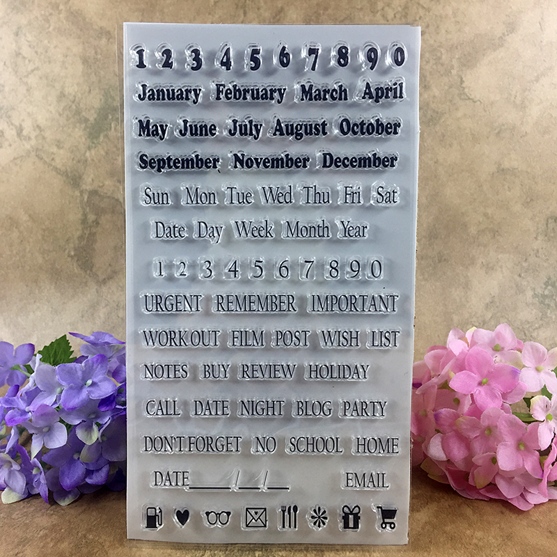 Day Week Month calendar Remind Clear Stamps Scrapbook DIY photo cards account rubber stamp clear stamp transparent stamp 20*11cm scrapbook diy photo cards account rubber stamp clear stamp transparent stamp handmade card stamp classical flower background