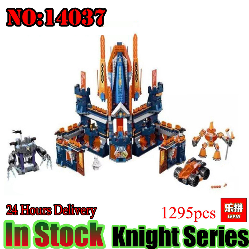 Lepin 14037 Nexoe 1295Pcs King Castle Nexus Knights Model Building Blocks Bricks figures Kids Toys For Children Compatible 70357 in stock lepin 14036 785pcs nexoe the stone colossus of ultimate nexus destruction knights building blocks bricks toys for kids