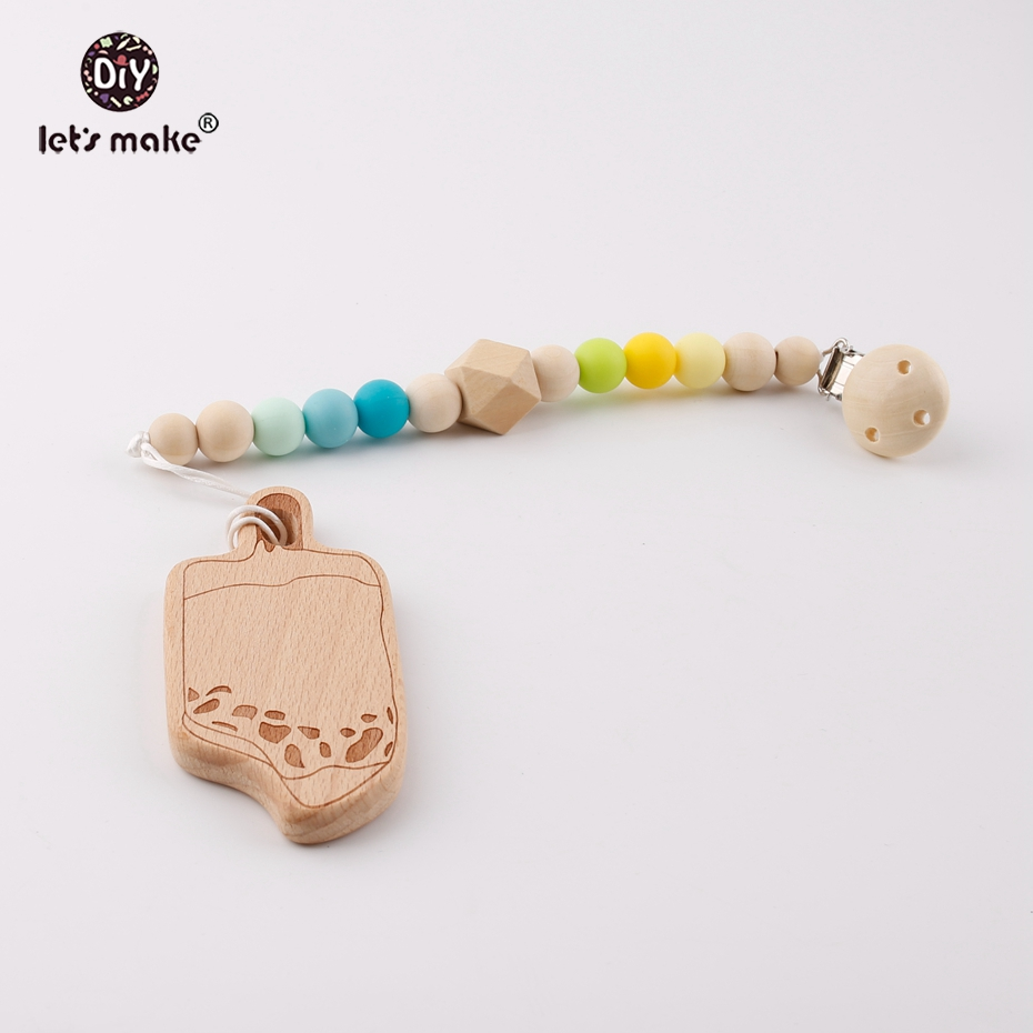 Let's Make 1pc Safe Beech Wooden Ice Cream Silicone Beads Chains Chew Baby Soother Teething Accessory Pacifier Clip Necklaces