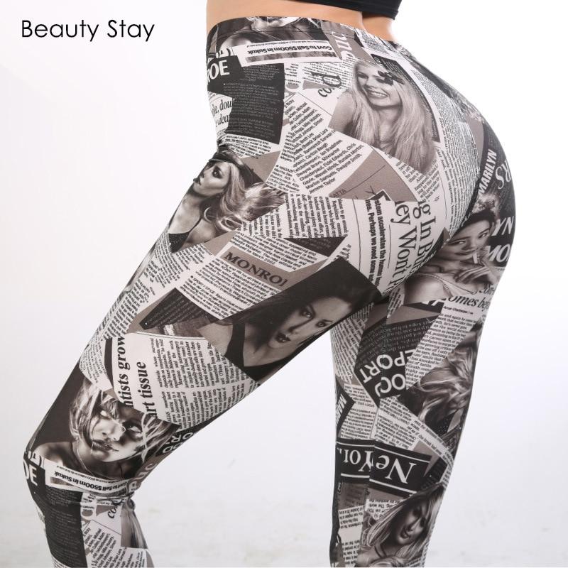 Beauty Stay Women   Leggings   Digital Newspaper Graffiti Print Black High Waist Elegant Work Slim Straight Fitness Pencil Pants