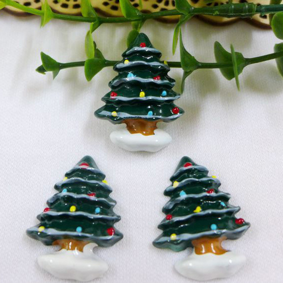 50pcslot hot sell snow christmas tree resin cabochon flat back girls hair bow center