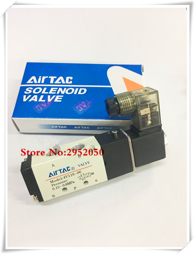 Free shipping Pneumatic Airtac Solenoid Air Valve 5 Port 2 Position 2/5 Way 1/8 BSP 4V110-06 With Wire DC 12V 24V AC110V 220V free shipping air solenoid valve 4v330c 10 double coil 3 8 bsp ac110v 5 3 way control valve plug type with red indicator light