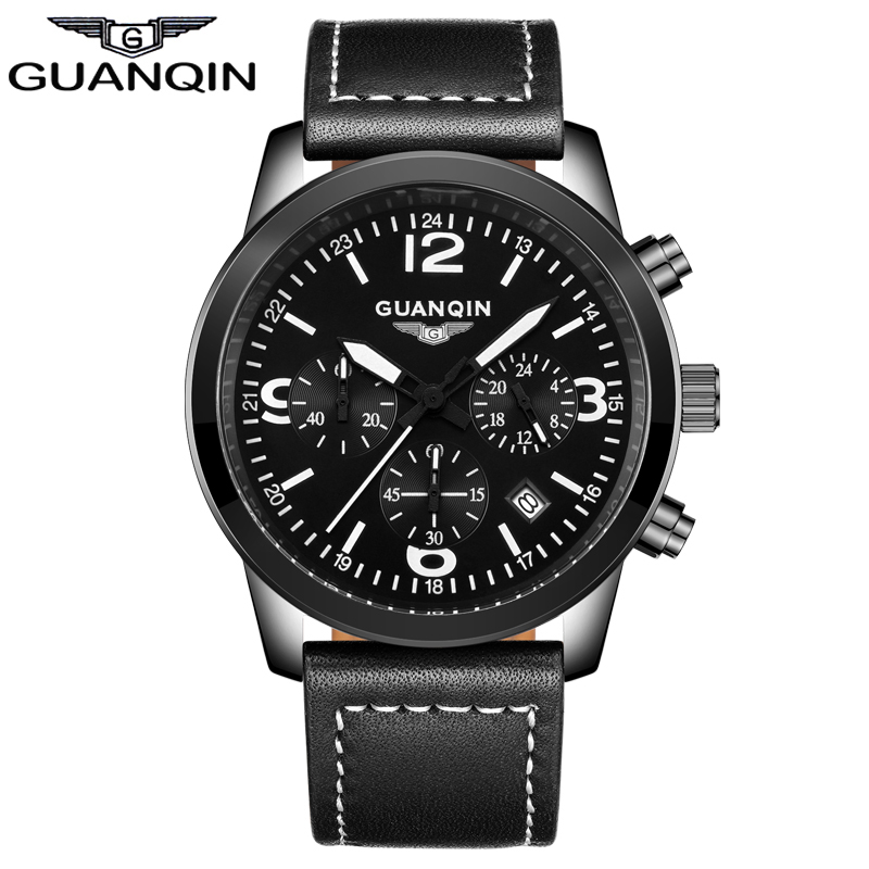 ФОТО GUANQIN GS19037 Casual Watches Brand Luxury Men's Quartz Watch Waterproof Sport Military Watches Men Leather relogio masculino