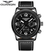 GUANQIN GS19037 Casual Watches Brand Luxury Men's Quartz Watch Waterproof Sport Military Watches Men Leather relogio masculino