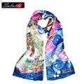 Salutto 100% bufanda de seda de la mujer de van gogh pintura impresión de alta calidad de la marca de moda párrafo chal chales bufanda mujer