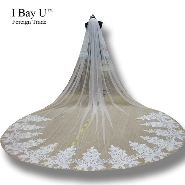 Real Photos Bridal Veils 3M Luxury Lace Appliques Cathedral Wedding Veil Beaded Bridal Veils Wedding Accessories 2 Lace Choices
