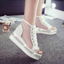 Summer Gladiator Style PU Leather peep Toe Flat Sandals Gauze Women's Shoes white&blue Mesh Fashion height increasing Sandal