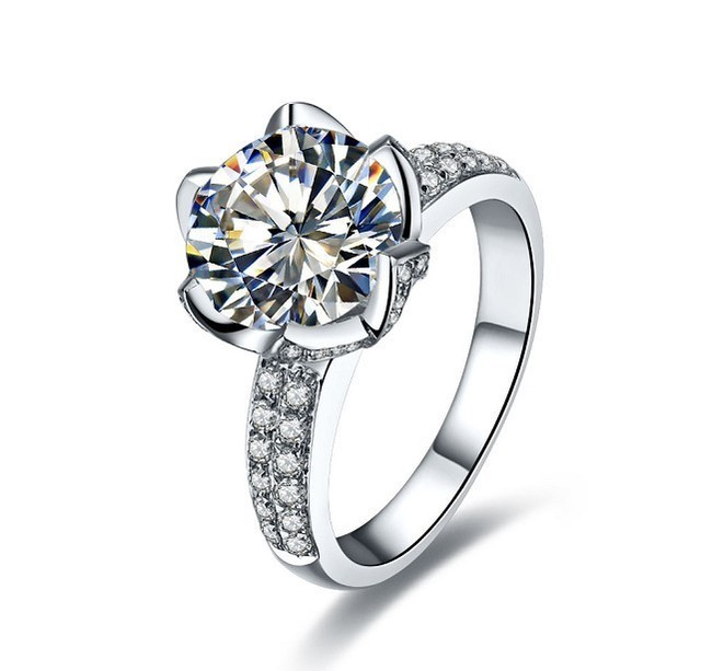 Fancy 3ct Lotus Flower Synthetic Diamonds Wedding Ring High Quality