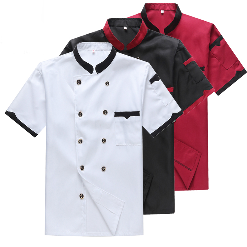 Chef Workwear Men's Short Sleeve Summer Breathable Sweat Thin Chef's Suit Short Sleeve Kitchen Catering Fast Food Shop Workwear