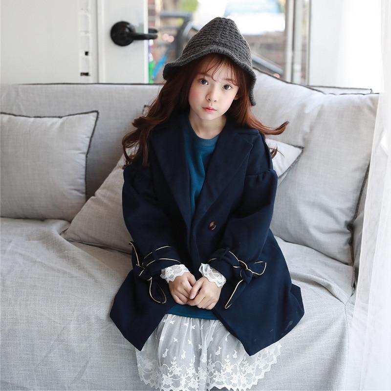 Autumn Winter Thick Warm New Kids Girls Wool Coat Children Woolen Coats Woolen Jackets Winter Princess Child Clothing Blue