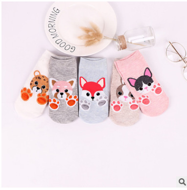 1pairs Women cotton   socks   Cartoon funny   Socks   Dog Cat cute Animals Style Warm   Socks   cartoon kawayi cute Lady Floor   Socks   Acrylic