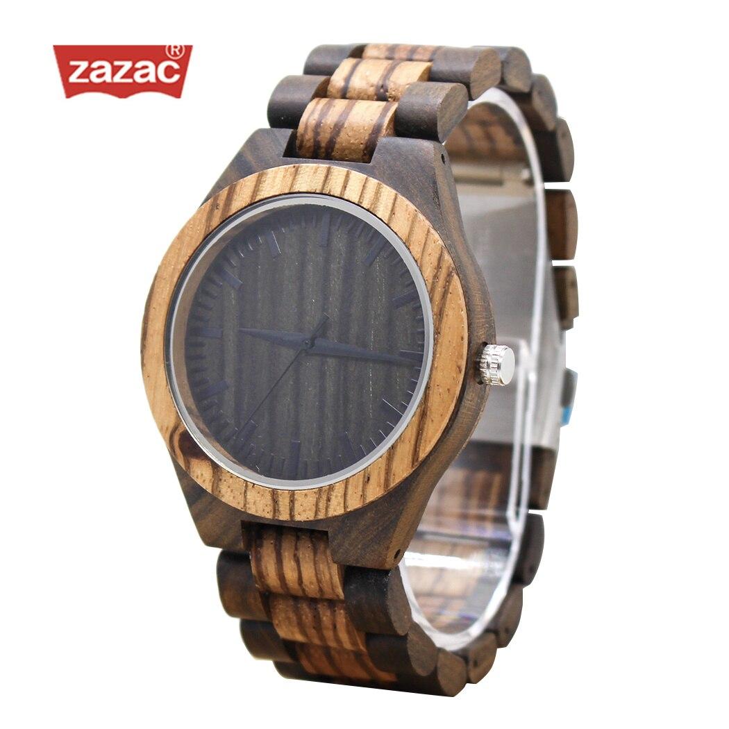 ZAZAC Mens Zebra pattern Wooden Watch with All Wood Strap Quartz Analog with Quality Miyota Movement gifts wristwatch relogio