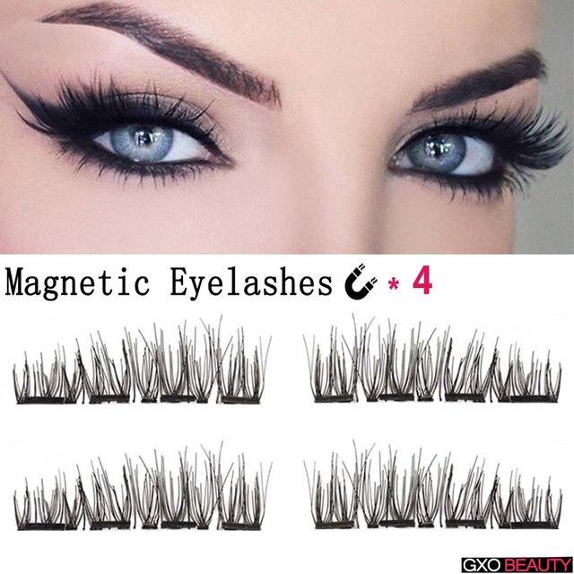 eb5e00875a0 GXO BEAUTY 1 Set Glue- Free 3D Magnetic Eyelashes Extension Makeup Reusable  Ultra-thin Black Long 4 Magnets Eye Lashes Tools
