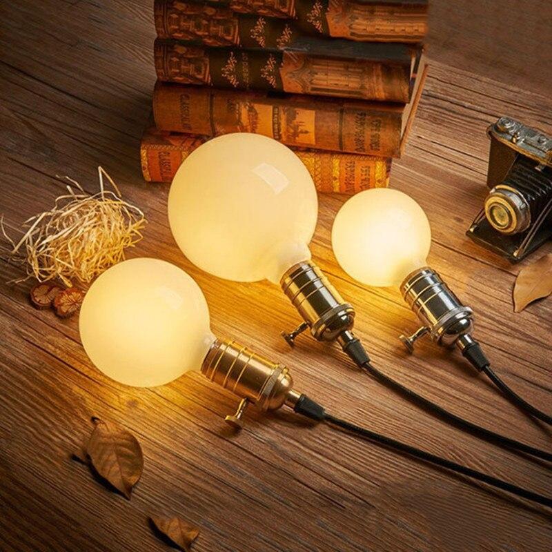 Milk White LED Bulbs Light G80 G95 G125 E27 Retro For Filament Light Vintage Globe Lamp Glass Antique Led Bulb For Home