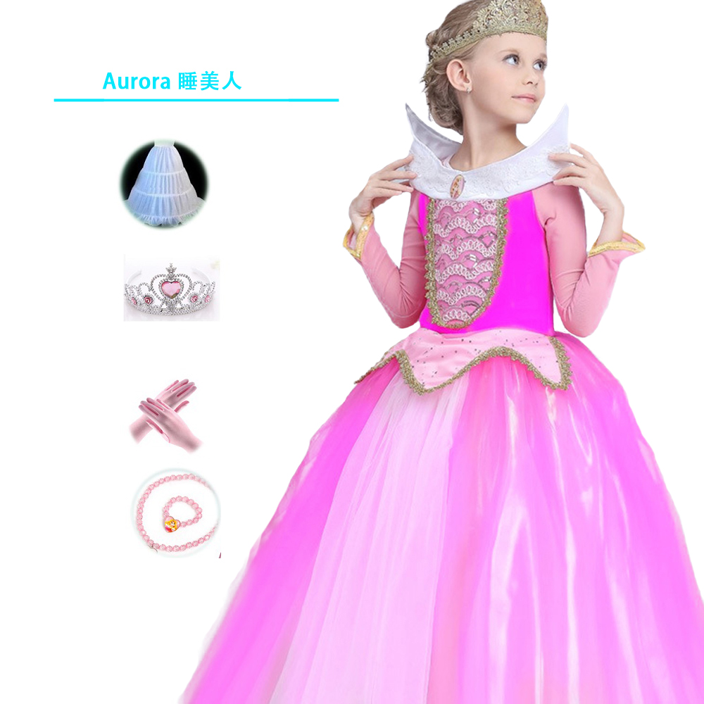Halloween Girls Dress formal Long Pink Dresses Children Sleeping ...