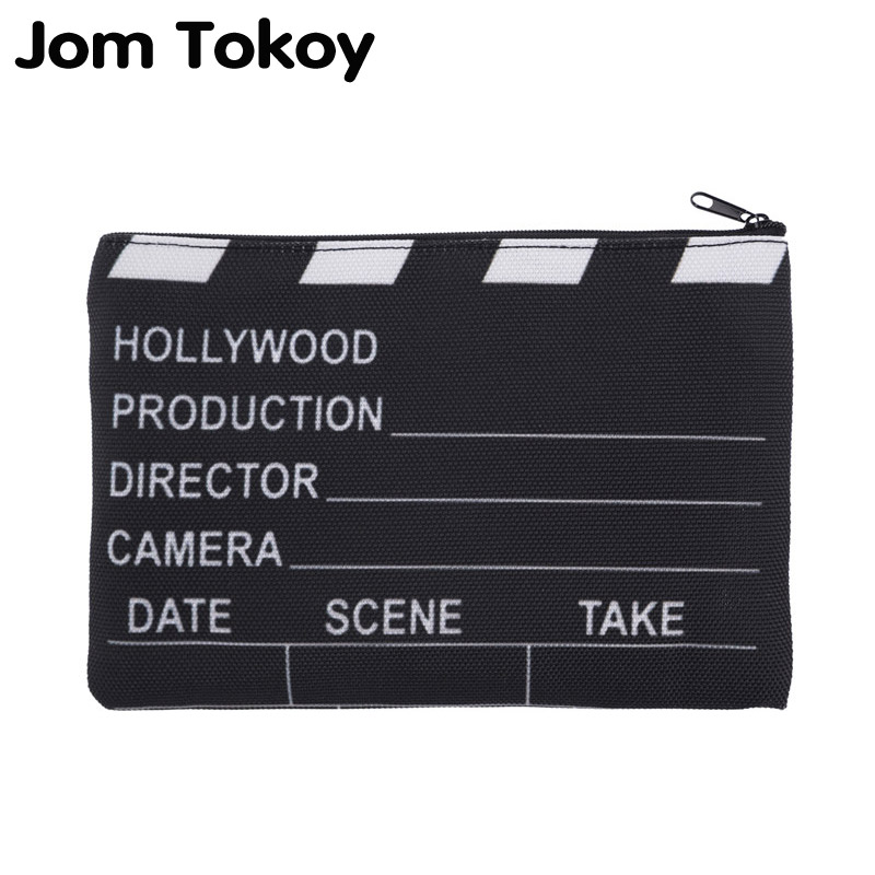 Jom Tokoy 3D Printing Claps  Black Necessaries For Travelling Organizer Makeup Women Letter Cosmetic Bags With Zipper