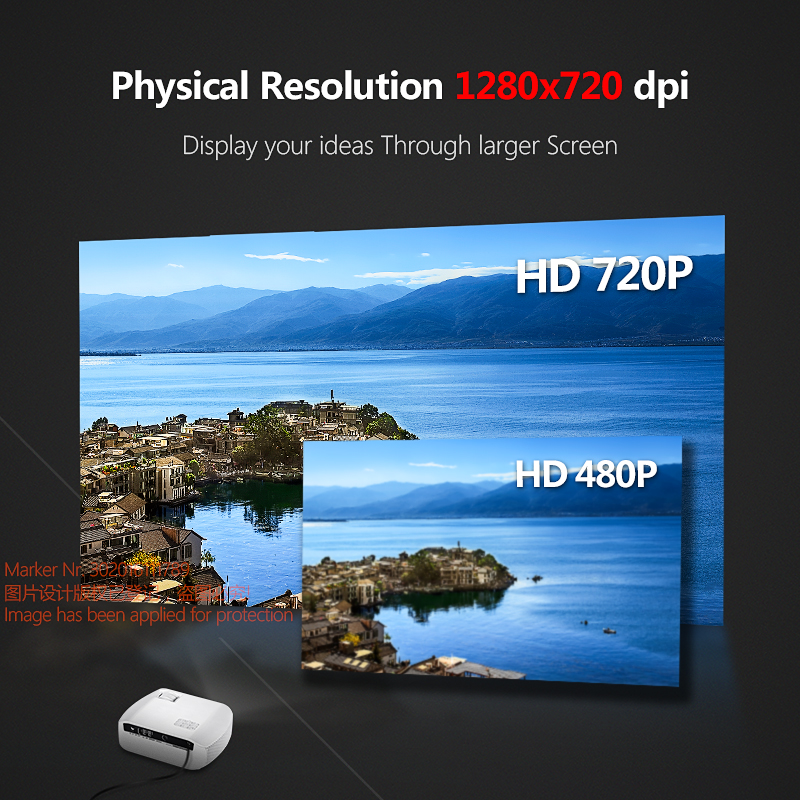 aun mini wifi led projector f10up 1280*720p resolution android 7.1 (2g+16g) for home cinema