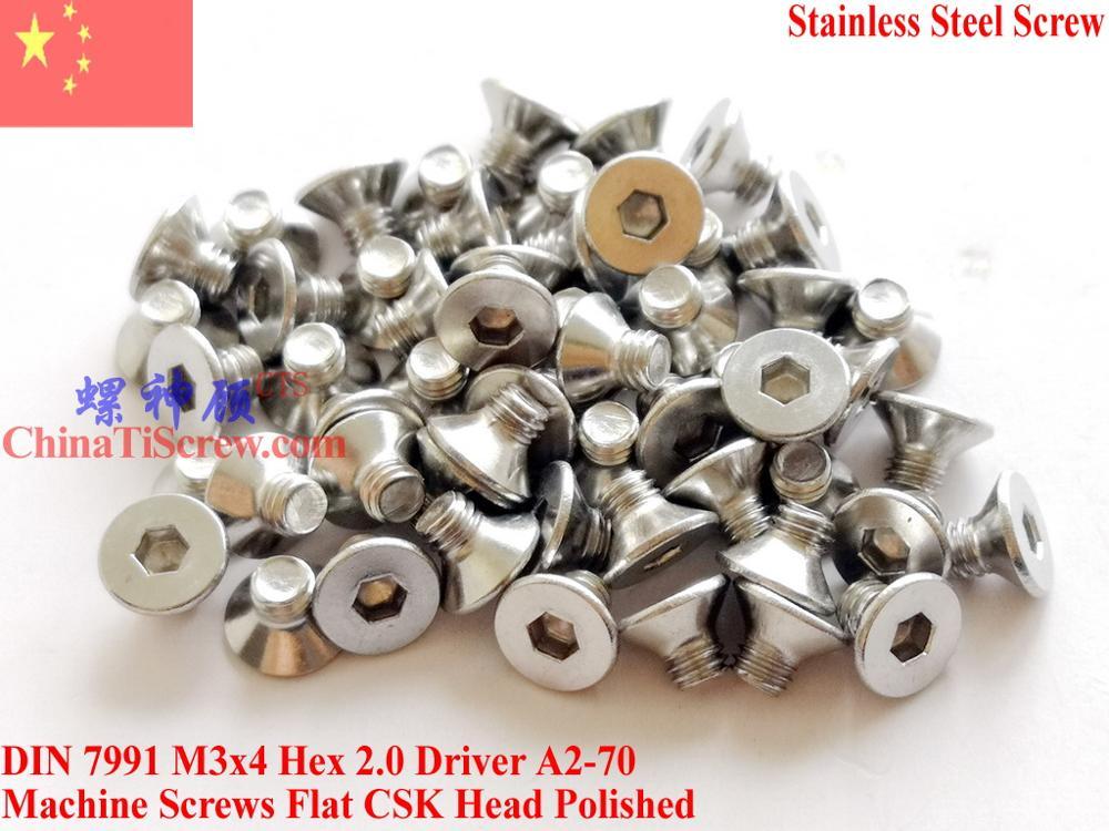 Parafusos de aço inoxidável m3x4 din 7991 csk cabeça plana hex driver A2-70 polido rohs 100 peças