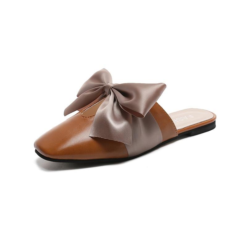 Flat mules women slippers talon d'ete pour femme 2018 Bowtie Velvet new low-heeled bow ribbon stylish with women's slippers