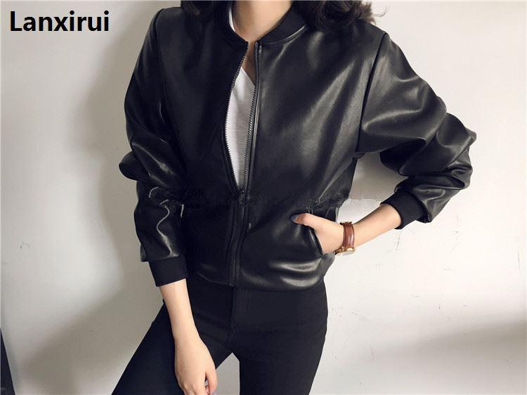 Europe Trendy Design Chic Jacket Women Solid Black /Silver Wide Biker Lapel Faux   Leather   Long Sleeve Autumn Short Jackets Coat