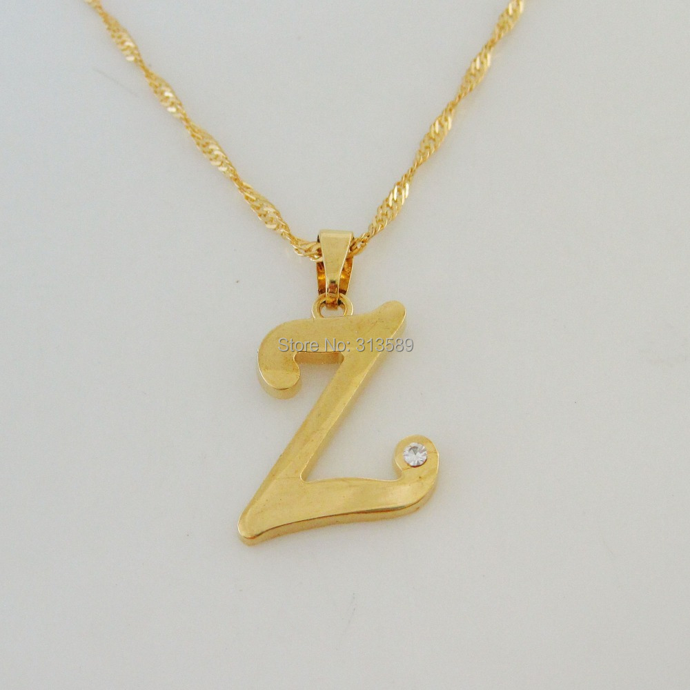 Letter Z Necklace ALP TOP QUALITY YELLOW GOLD OVERLAY 18