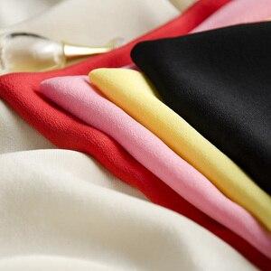 Image 3 - Женская футболка из натурального шелка, однотонная Свободная шифоновая футболка с коротким рукавом летучая мышь, базовый топ из 100% натурального шелка, лето 2019
