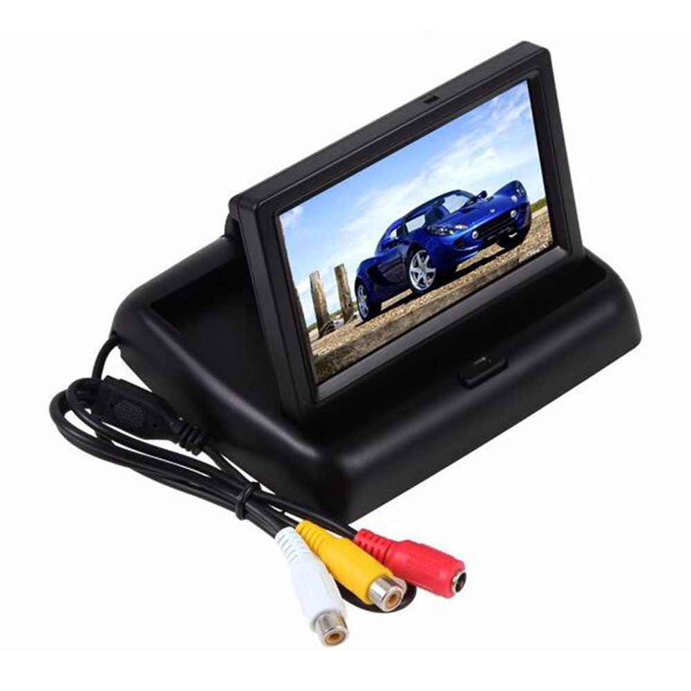 Foldable 4.3 inch Car Monitor LCD TFT Display 2 CH video input for Backup Rear View Reversing Camera DVD VCD