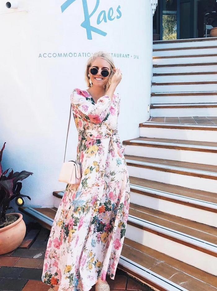 V Split Lin Élégant Cou Posé See Vacances Nouveau Vent Chart Le Femmes Printemps De Robe Fleurs 2019 Dans Impression qwZPa