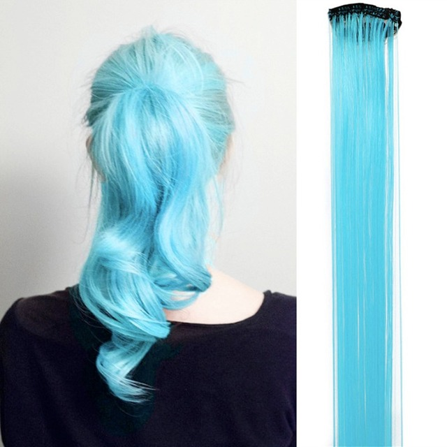 2pcs Funky Streaks Clip In Hair Extensions Mix Color Highlight