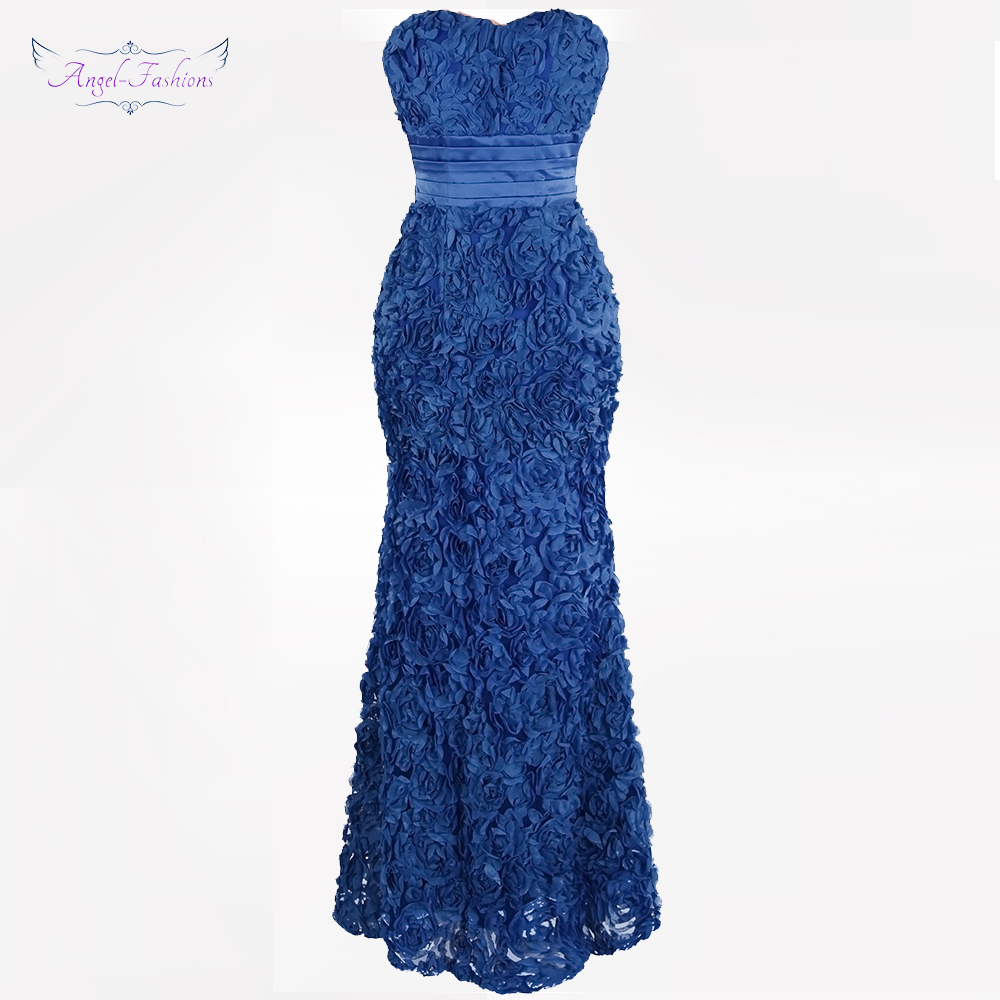Angel-fashions Women's Floral Lace Pleat   Evening     Dresses   Sweetheart Vestido de fiesta de bodas Blue Pink 343