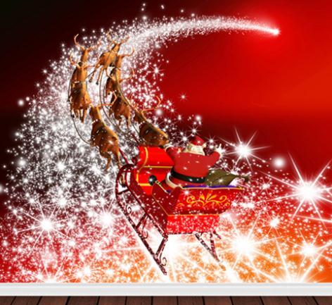 LIFE MAGIC BOX 300Cm Vinyl Backdrop Santa Driving A Bunch Of Stars Into The Sky Background Cm-6390
