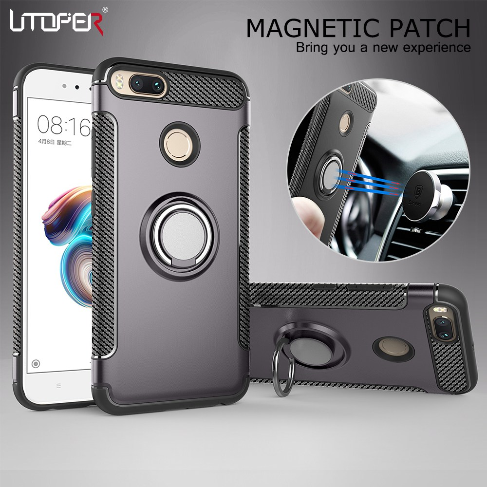 UTOPER Case For Xiomi Xiaomi mi a1 Case Fundas soft silicone Hard PC Magnetic Ring armor Cover For Xiomi Xiaomi mi 5x A 1 Case