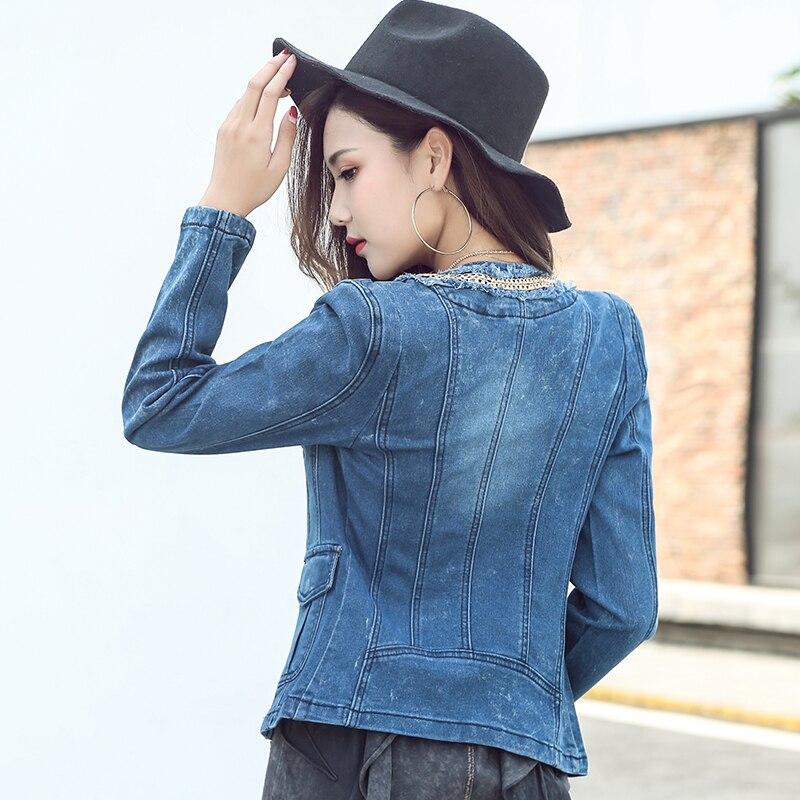 Manteau Manches Bleu Court Longues Point Ouvrir Veste Denim Printemps Manteaux En Jeans cou O À Jean Chaînes Femmes 2018 Dames Pour qzBTn