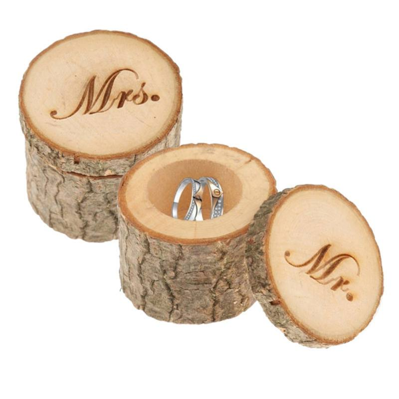 1 Pair Valentine's Day Wedding Ring Bearer Wooden Ring Bearer Box Wedding Rings Holder For Valentines Day Gifts Wedding Supplies