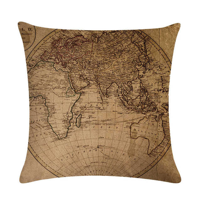 Cojines Sofa Online.World Map Nautical Cushion Cover Retro Map Decorative Pillow Case Linen Cotton Cojines Decorativos For Sofa Car Home H770