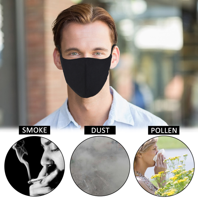 3Pcs Black Bilayer Cotton Mouth Mask Anti Haze Dust Washable Reusable Double Layer Dustproof Mouth-muffle Winter Warm Mask 3