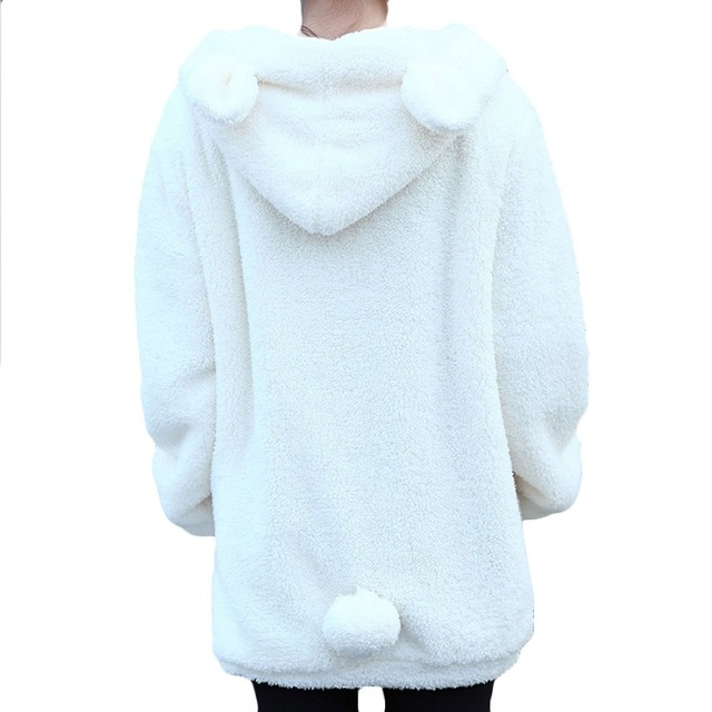 Winter Loose Fluffy Bear Ear Hoodie Hooded Jacket