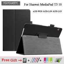 купить Case For Huawei MediaPad T3 10 AGS-W09 AGS-L09 AGS-L03 9.6 Cover Funda Tablet for Honor Play Pad 2 9.6 Slim Flip Case+Film+Pen дешево