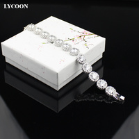 LYCOON wedding jewelry crystal bracelets silver plated fashion women white crystal and CZ stone wife/ girls friend gift