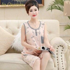 Image 2 - Pijamas grandes para mujer, novedad de 2019, conjunto de ropa de casa de algodón Floral, pantalones cortos de noche, de talla grande 4xl Pijama de algodón, verano Rosa Pj