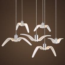 hot deal buy black white creative pendant lights personality seagull pendant lamp barroom pendant loft/bar/dining room suspension luminaire