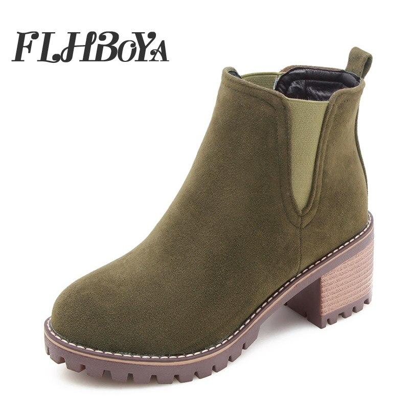Slip Boot Femmes black Mode Martin Dames Bout Chaussures olive 2018 Bottes Talon De Flhboya brown sur Rond Haute Épais Med Cheville Beige Courtes Green Flock Automne BwvETH