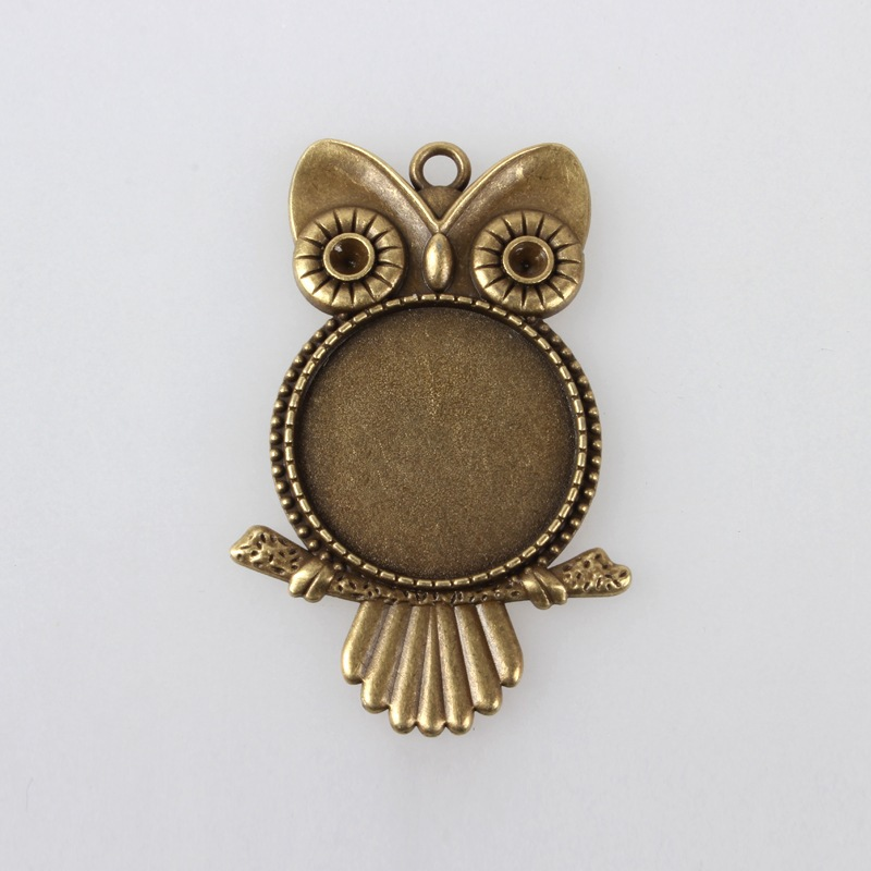 Tibetan Silver Owl Shape Round Cabochon Base Setting 25mm Cameo Blank Tray for DIY Charm Pendant Making Jewelry Supply