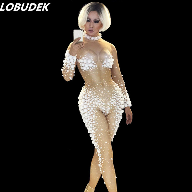 Здесь продается  Occident Christmas party Bar Nightclub female Costume white 3D Effect crystals jumpsuit Sexy stage Jazz Pole dancing DJ Jumpsuit  Одежда и аксессуары