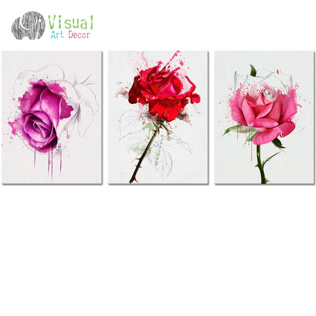 No Frame Diy Flower Canvas Wall Art Decor Watercolor Rose Painting